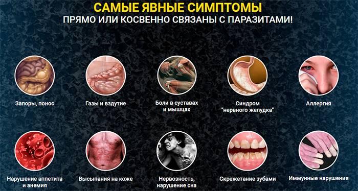 Основные симптомы паразитов в организме